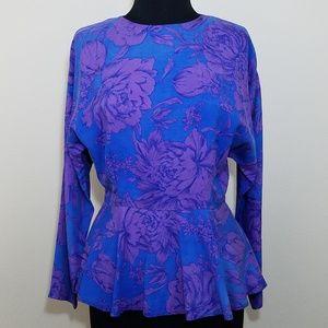 Kay Unger, Vintage Silk Floral Long Sleeve Blouse